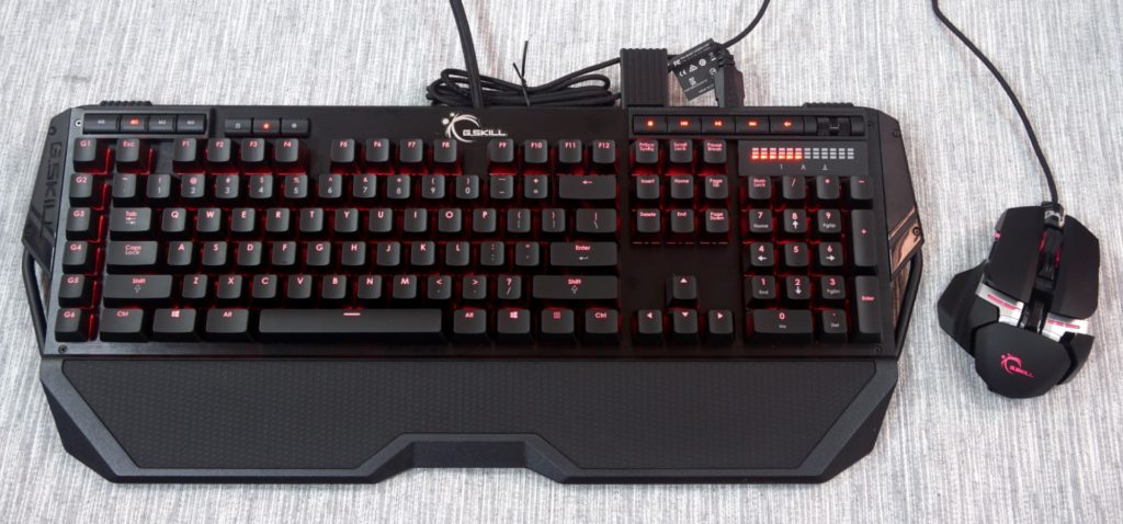 Eric's choice of peripherals, the G.Skill Ripjaws KM780 mechanical keyboard and MX780 laser mouse.