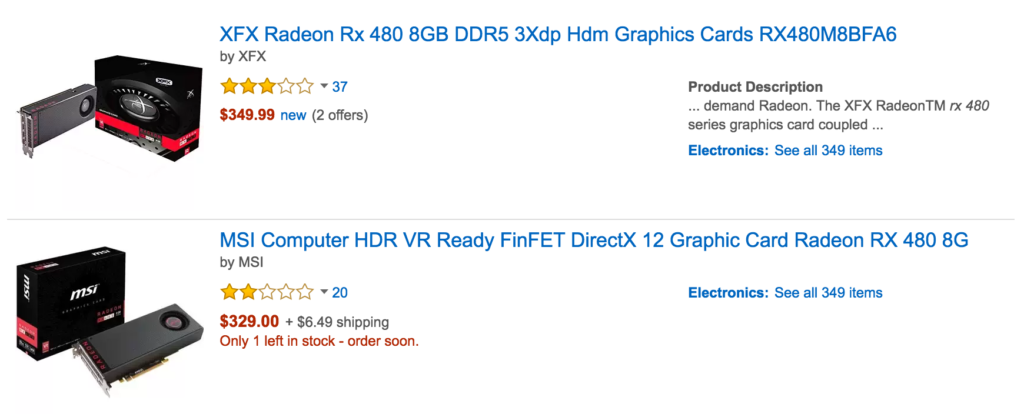 Prices on Amazon for the RX 480. Do not buy the RX 480 at these prices.